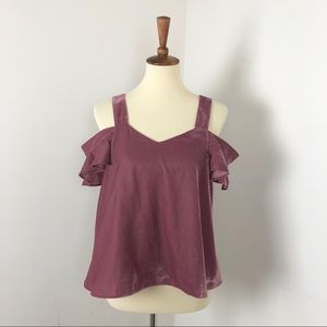 Topshop | Crushed Velvet Cold Shoulder Blouse
